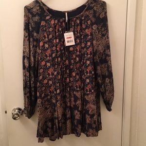 free people long sleeve flower dress